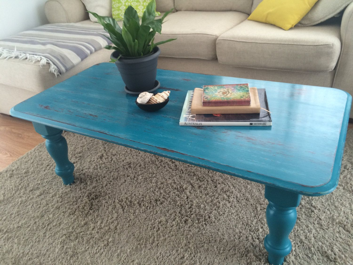 Hand Painted Distressed Turquoise Blue Farmhouse Coffee