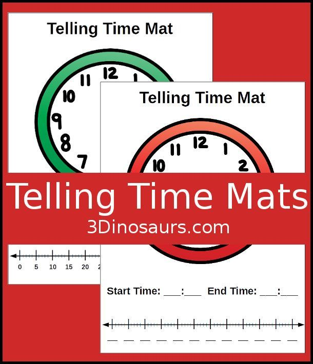 Free Easy To Use Math Help Telling Time Mats 2 Mats To Help With Clocks And Time Number Lines For Early Learning Math Math Methods Math Questions