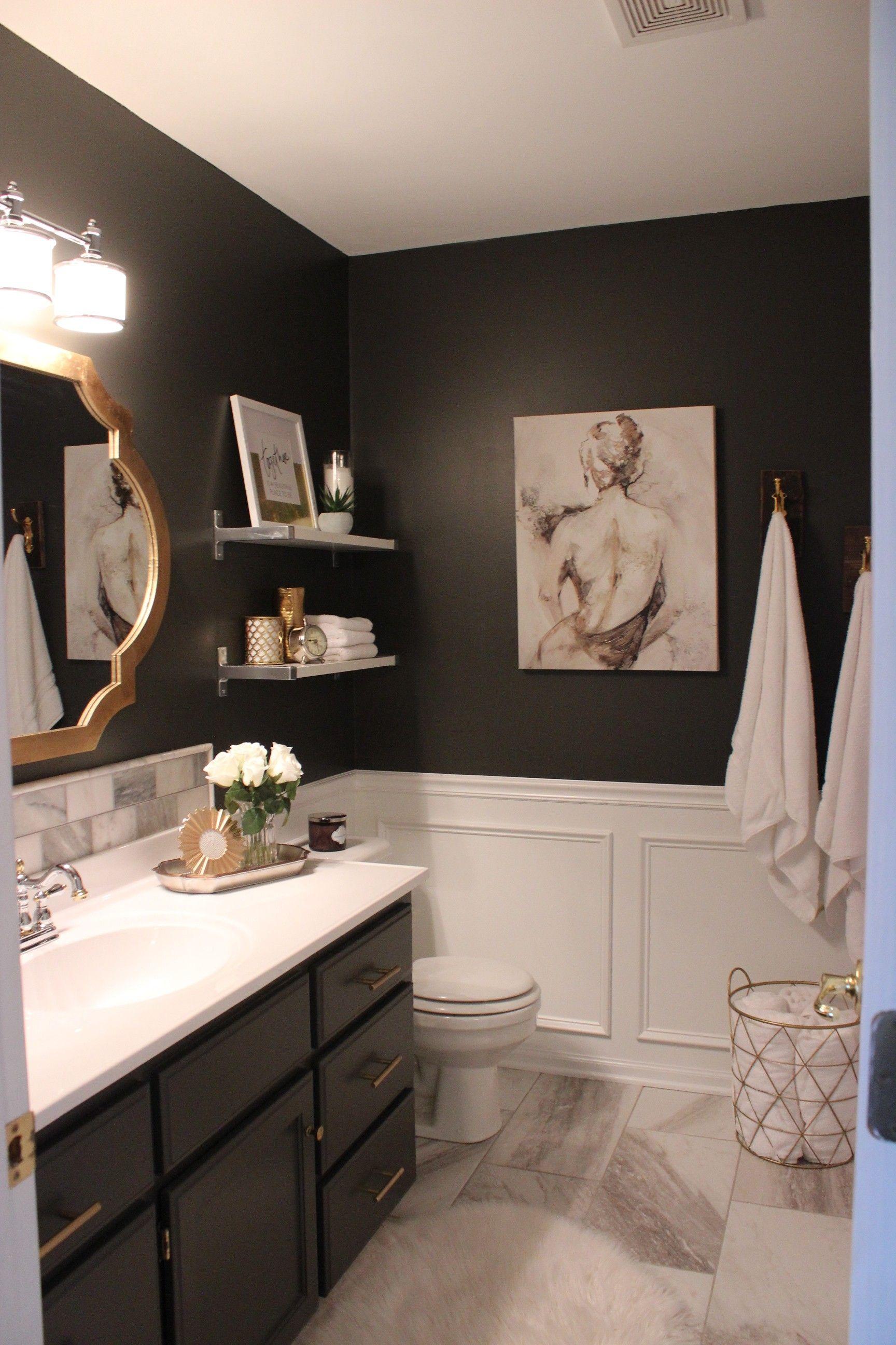 Master Bathroom Tile Dark Walls Gold Bathroom Decor Master Bathroom Makeover Bathroom Remodel Master