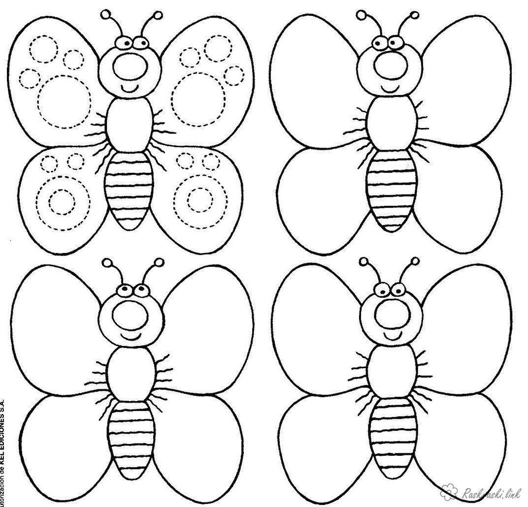 Раскраски Раскрась геометрические фигуры бабочка из ...