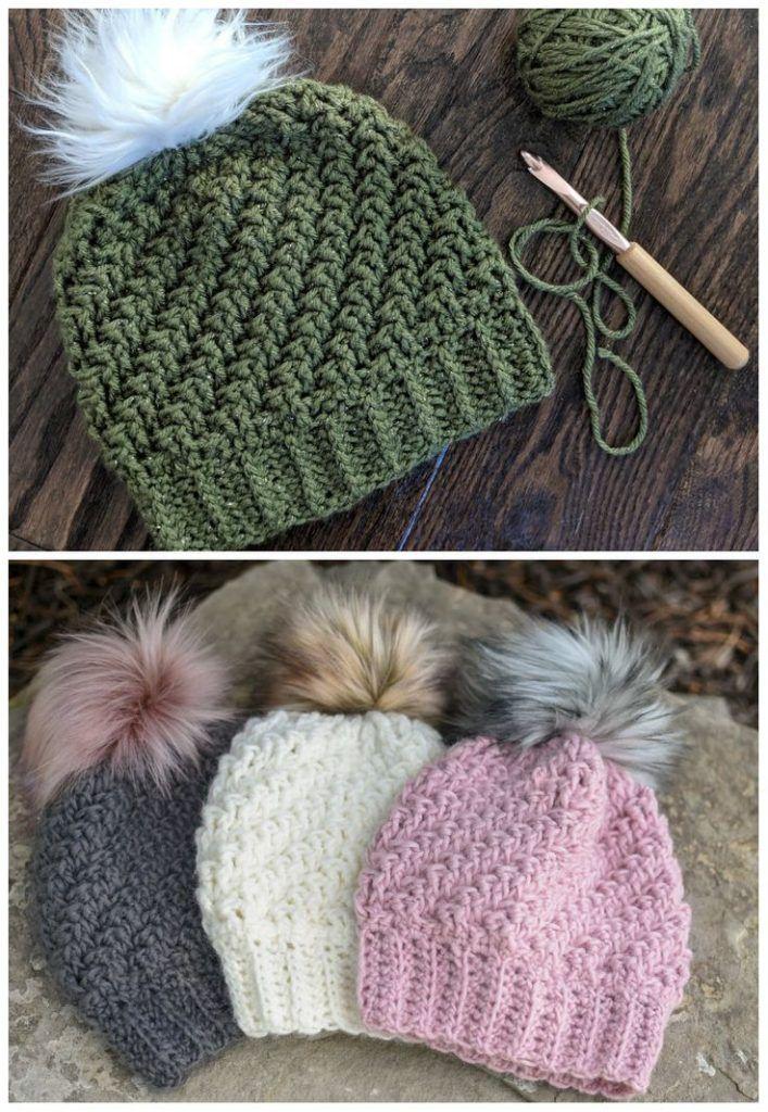Diagonal Raised Beanie Crochet Bianca Lehe Pinsit Crochet Beanie Pattern Crochet Hats Crochet Hat Pattern