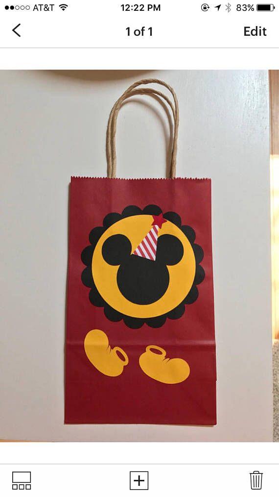 Bolsas de regalo de fiesta de cumpleaños de Mickey Mouse.