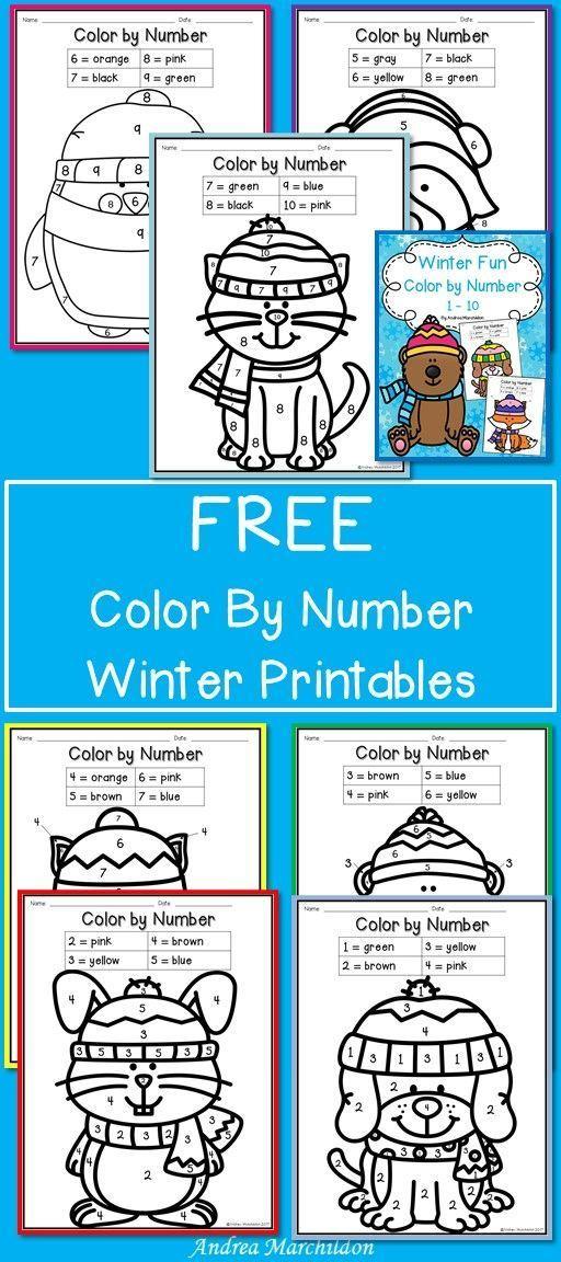winter fun color by number 1 10 pre kindergarten kindergarten colors pre k worksheets. Black Bedroom Furniture Sets. Home Design Ideas