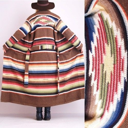 0766db401 Vtg-RALPH-LAUREN-RAINBOW-Navajo-Indian-Cardi-BLANKET-Jacket-Jumper-Sweater- COAT