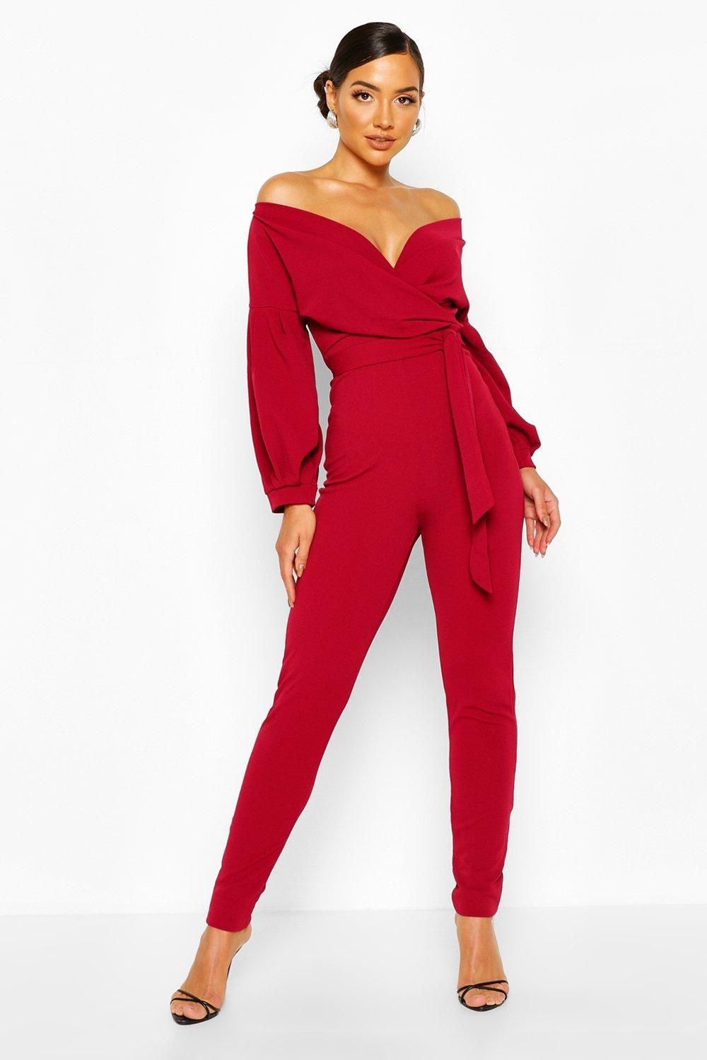 Womens Off The Shoulder Wrap Jumpsuit - red - 10 - Off The Shoulder Wrap Jumpsuit