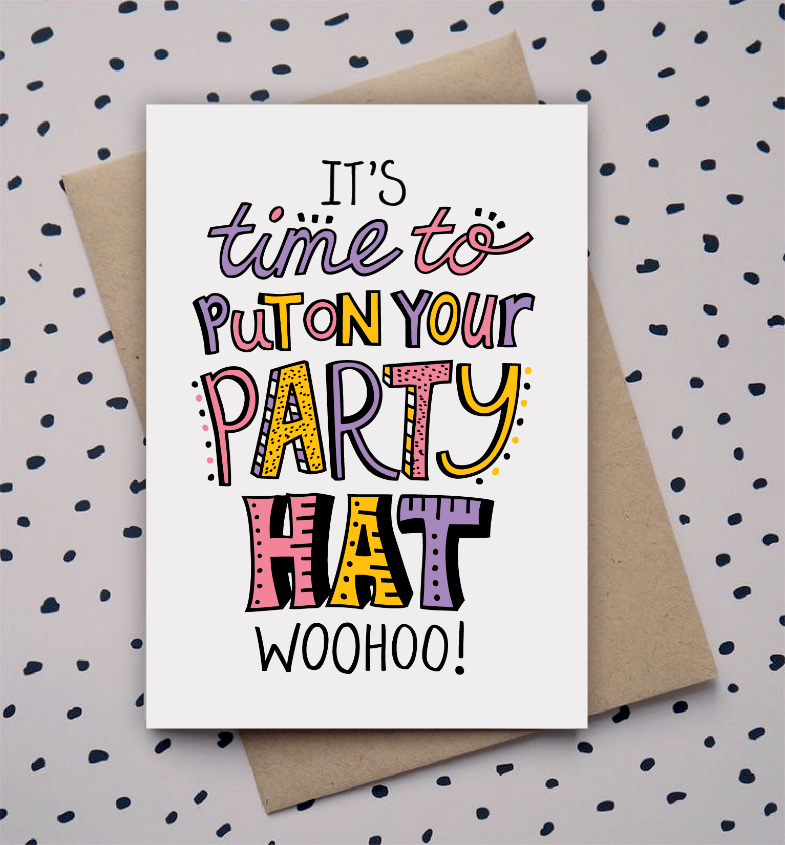 Hand Drawn Type Doodle Birthday Card Party Card Design