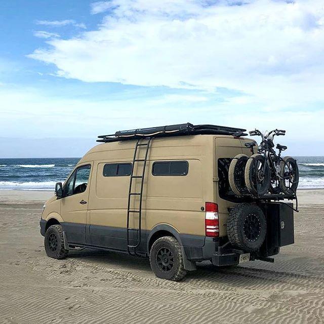 Sprintertothefinish Sprinter Van With Aluminess Roof Rack Ladder And Rear Bumper Swing Arms For Spare Tire Storage Box And Bik Sprinter Van Travel Van Van