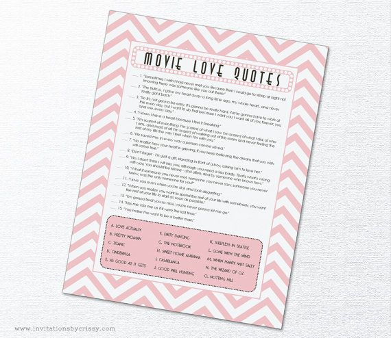 Movie Love Quotes Bridal Shower Game Cards by InvitationsByChrissy | pink and white chevron | custom colors available