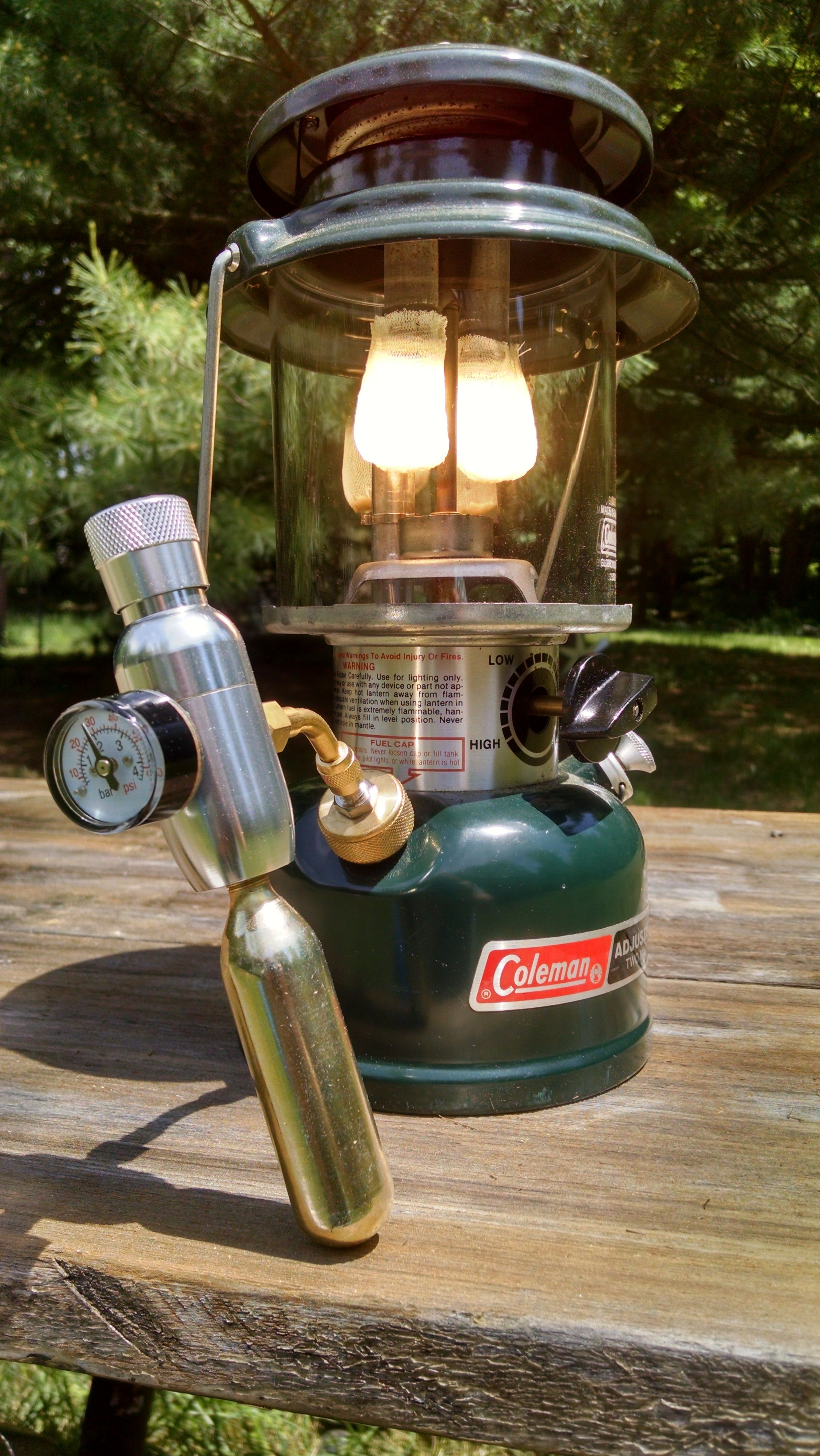 No pumping with mini CO2 regulator | Coleman Lanterns | Camping