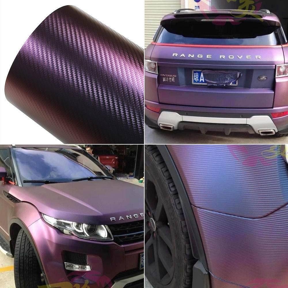 Chameleon Carbon Fiber Vinyl Film Wrap Car Sticker Vehicle Film Purple With Blue | eBay
