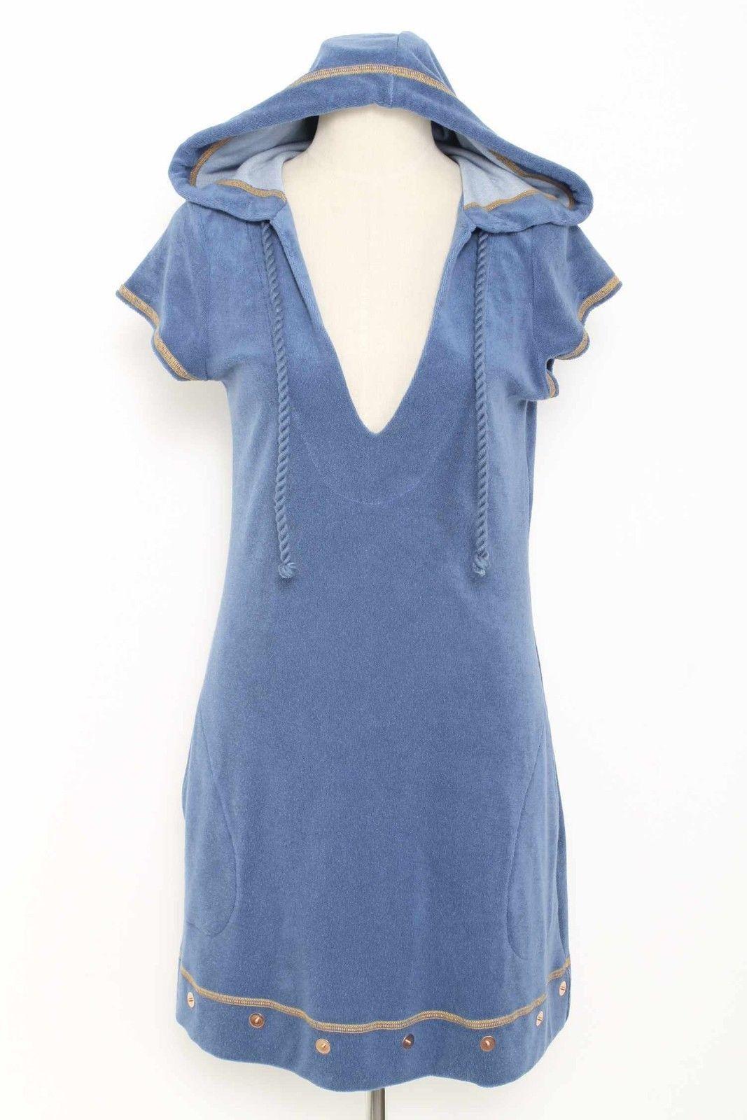 Ticci Cabana Blue Short Sleeve Hooded Sweater Dress Size M 771 L1015