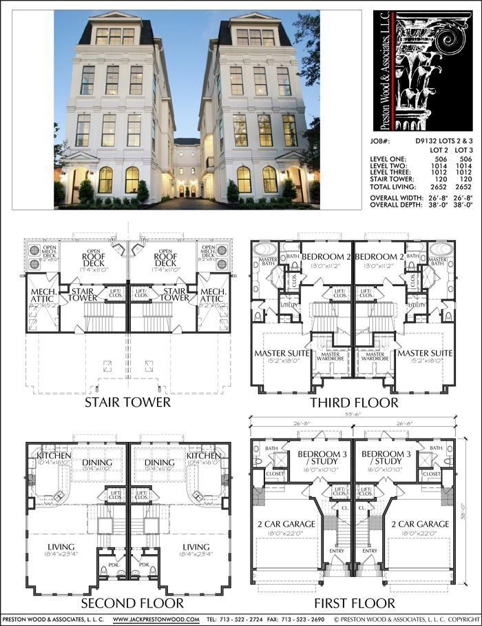 3 1 2 Story Duplex Townhouse Plan D9132 Lots 2 3 Hotel Floor Plan Hotel Floor Floor Plans