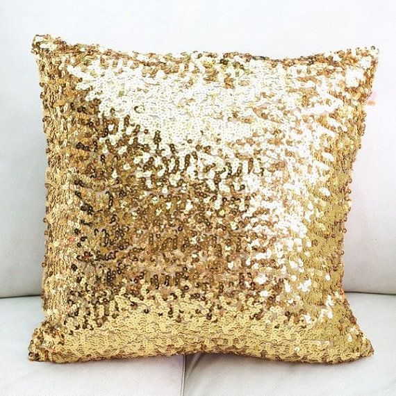 sequin metallic throw pillow cushion cover for your home or wedding decor - Gold Decorative Pillows