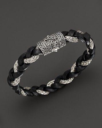 John Hardy Mens Braided Leather Bracelet tXAbH91
