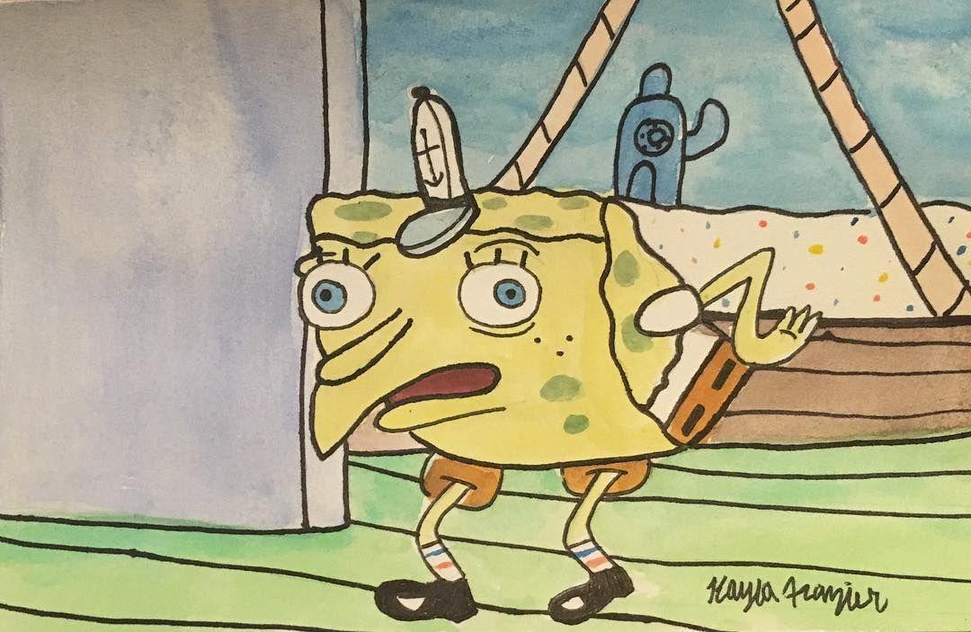 Spongebob Chicken Meme Watercolor E Spongebobchickenmeme Spongebobfanart Fanart Doodle Drawing Sketch Water Spongebob Painting Funny Paintings Lovers Art