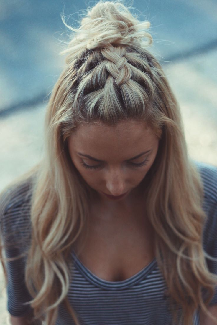 French Braid Top Knot Braided Hairstyles Pinterest Braided top