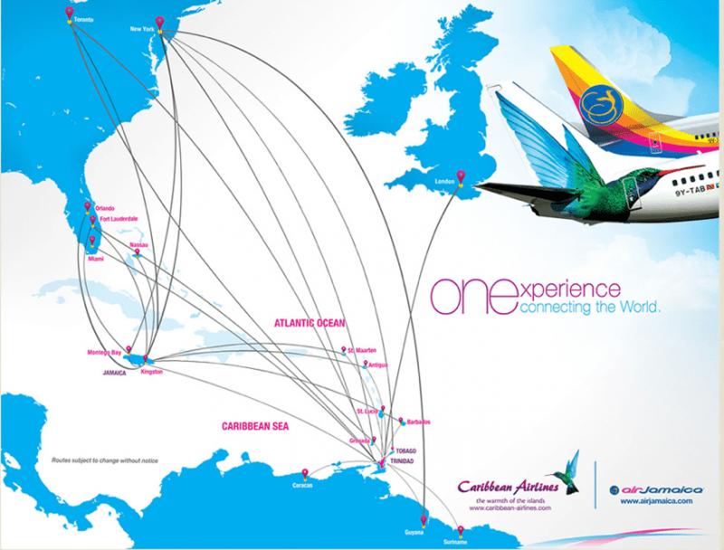 Caribbean Airlines & Air Jamaica route map   Air jamaica ...