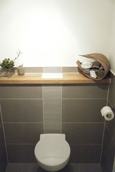 Gäste WC - Fliesen grau, Holzablage Badezimmer Pinterest