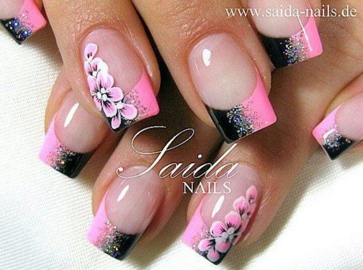 Nailart nageldesign schwarz und rosa mit blumen for Pinterest nageldesign