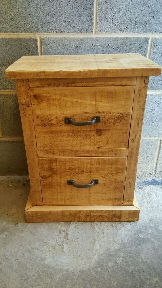 Rustic Wood Bedside Table: Details About NEW SOLID WOOD RUSTIC CHUNKY 2 DRAWER