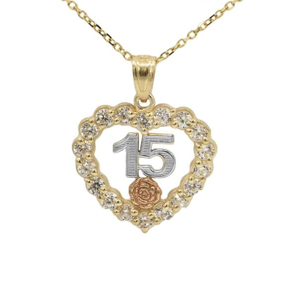 ea25b72f3e26 10k Tri-Color Gold Cubic Zirconia Quince Anos Heart Necklace en 2019 ...