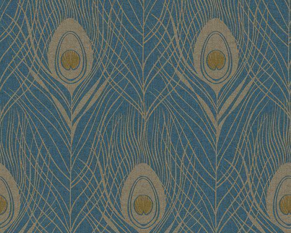 Live In Absolutely Chic Behang Pauwenveren Blauw Goud 36971 2 Groen Behang Vinyl Behang Patroon Behang