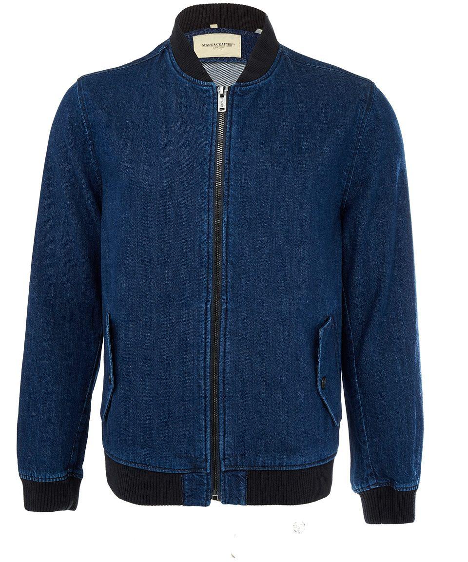 Levi S Blue Zipped Denim Bomber Jacket Men S Jackets By Levi S Liberty Co Uk Denim Bomber Jacket Mens Hoodies Men Mens Streetwear Outfits [ 1153 x 960 Pixel ]