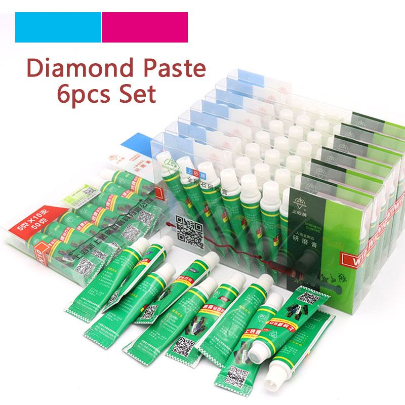 Tools High Quality 6pcs Diamond Abrasive Paste Needle W0.5-w40 Grinding Polishing Tube Lapping Compound Metal Jade Amber Buffing Tools