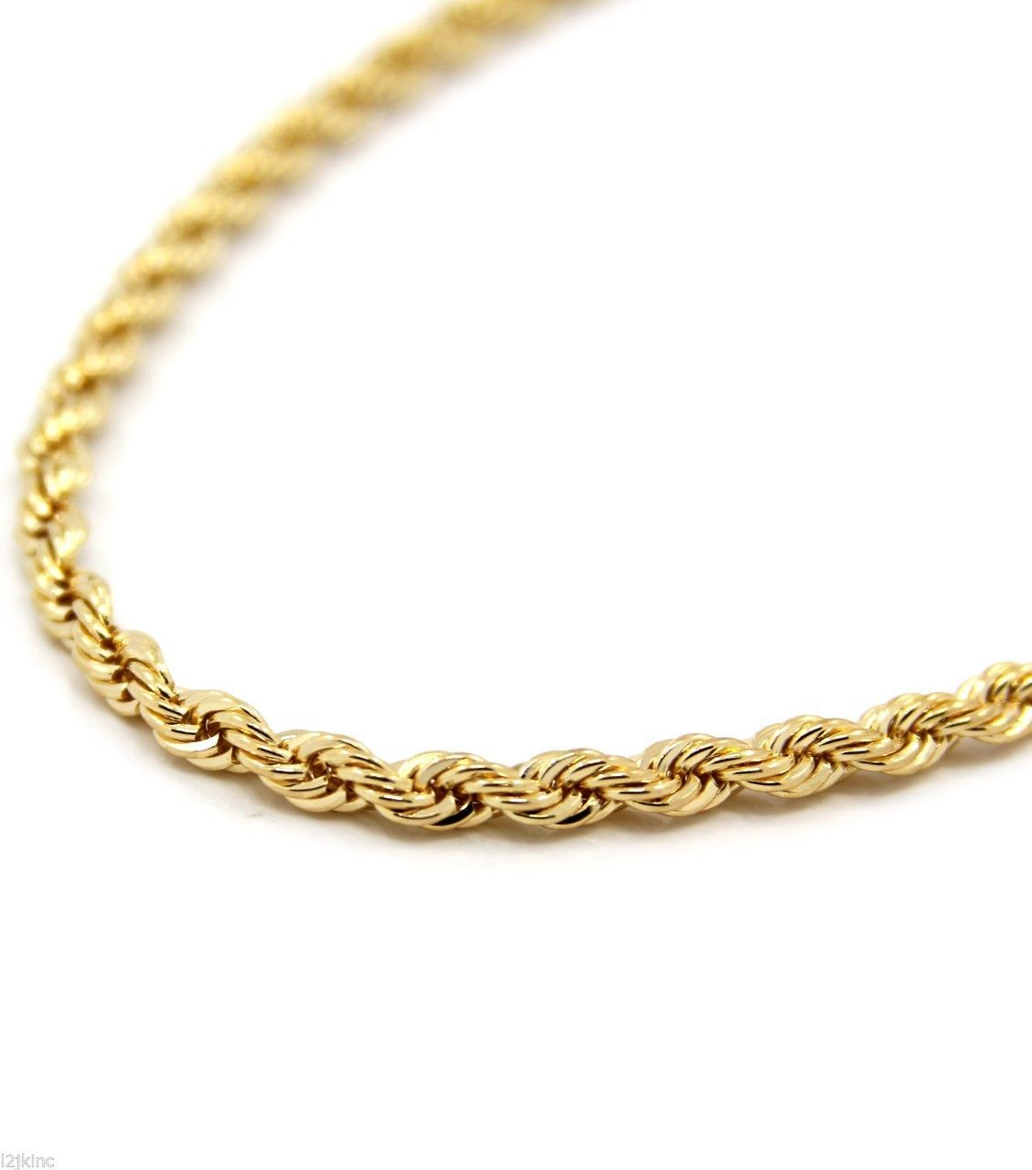 Mens 14k Yellow Gold Plated 5mm Rope Chain Necklace 24 034 Ebay Gold Chains For Men Gold Rope Chains Gold Chains