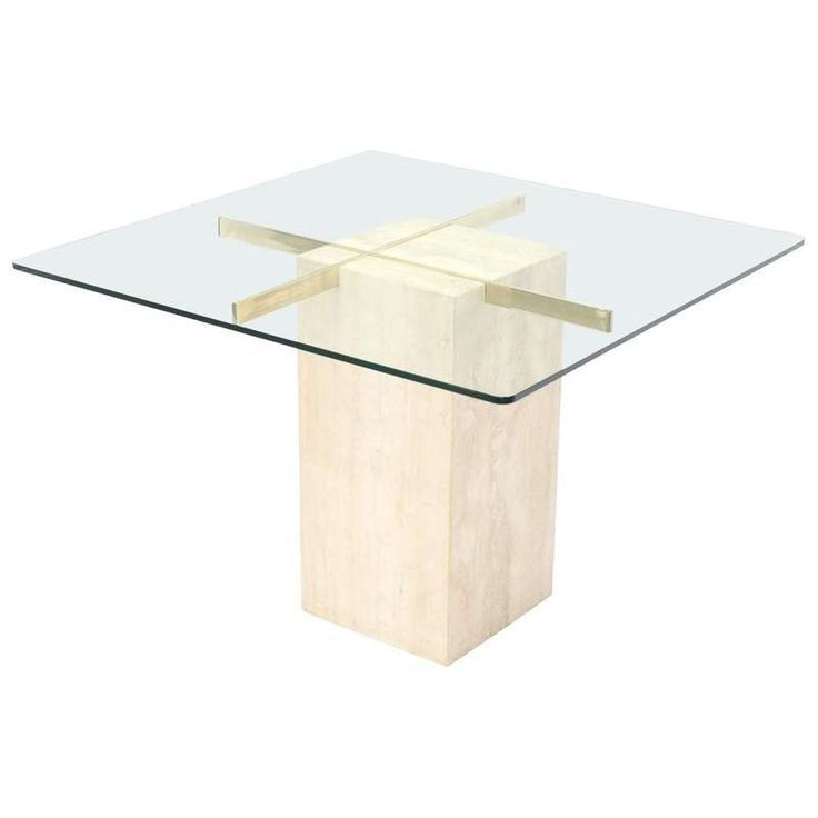 Square Travertine Marble Pedestal And Brass Glass Top Dining Game