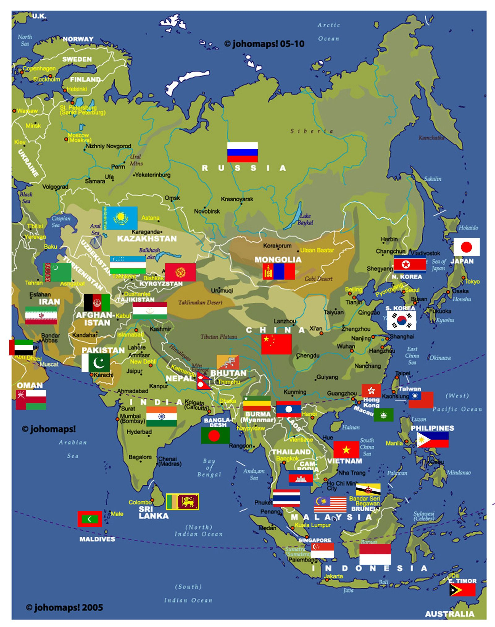 Physical And Administrative Map Of Asia