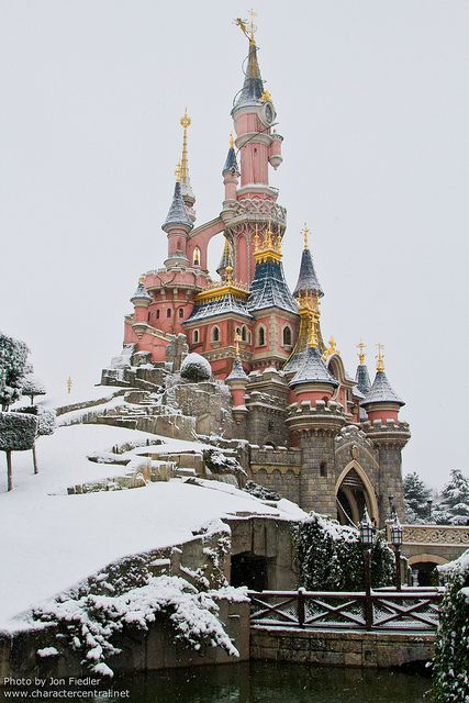 Visit Disneyland and it snows - aw beautiful