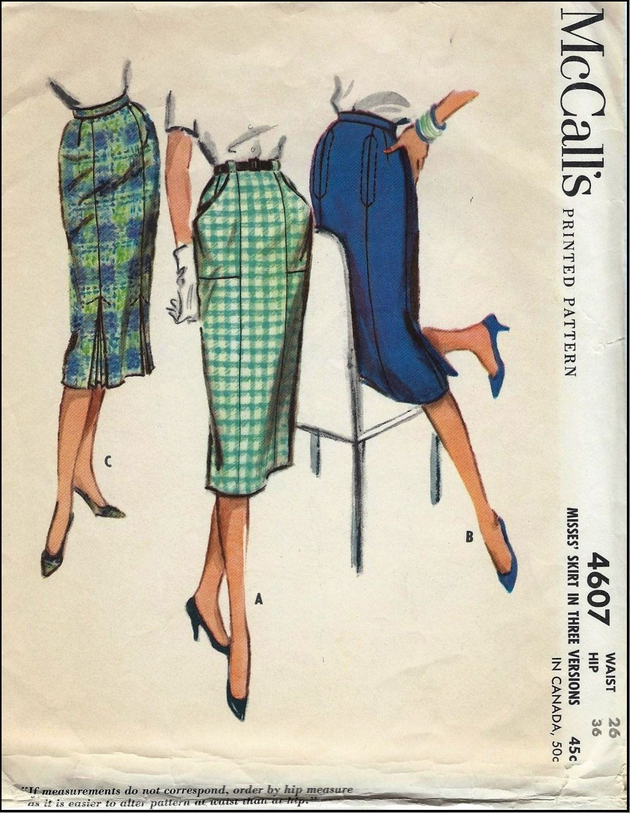 McCall\'s #4607 - Sewing Pattern - Skirts in Three Versions 1958 ...
