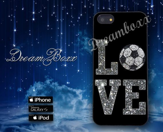 Love Soccer Glitter Phone Case for iPhone 4/4S iPod by DreamBoxx, $13.99