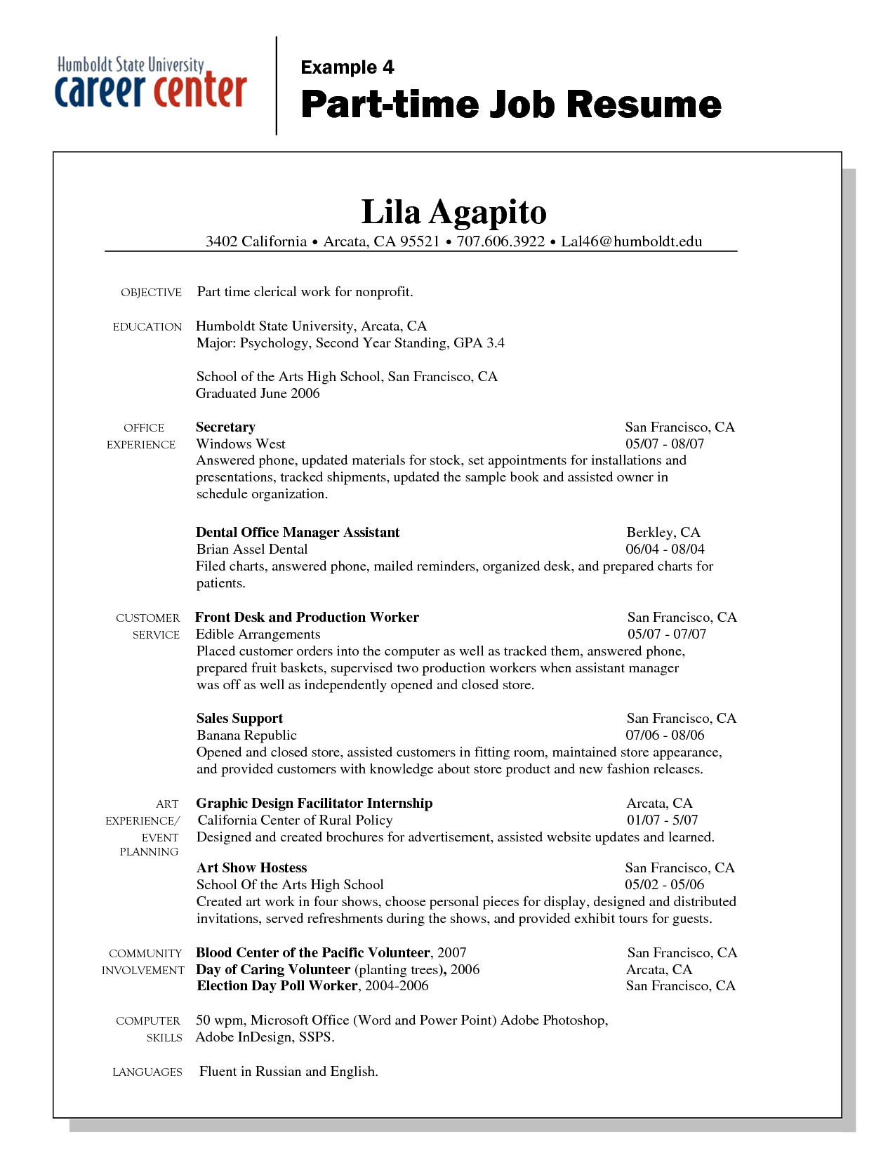Resume Part Time Employment