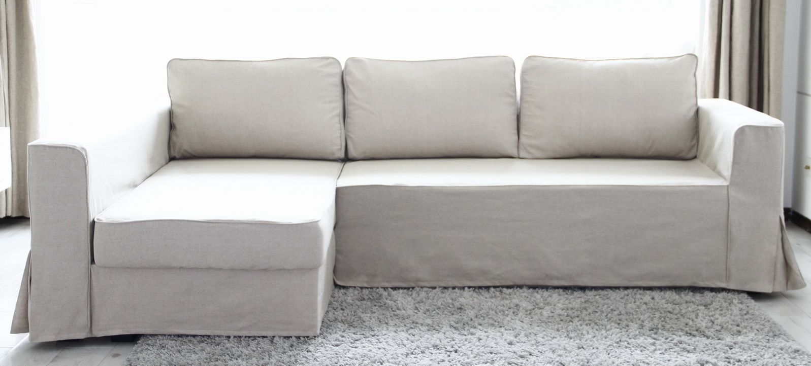 Leather Sofa Covers Ikea Cost Plus Sofas Athlone Loose Fit Linen Manstad Slipcovers Now Available For The Home Chaise Lounge Left Bed