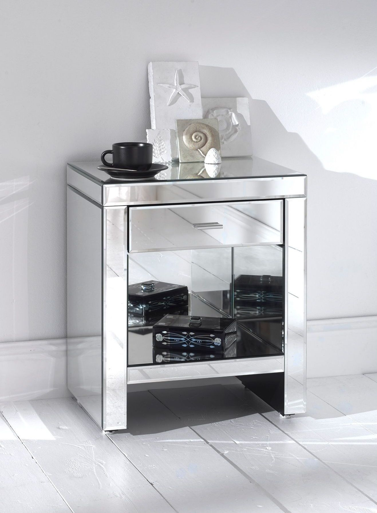 Mirrored Bedside Table With Drawers: Furniture, Small Square Venetian Mirrored Bedside Table