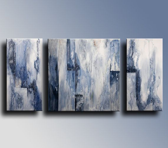 48 Large Triptych Original Textured Abstract Painting On