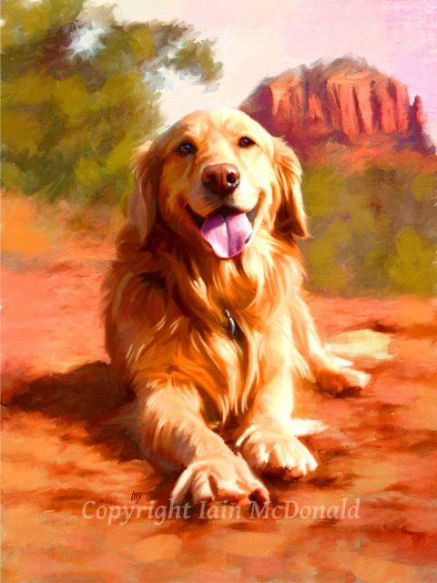 Golden Retriever Art From Etsy With Images Golden Retriever
