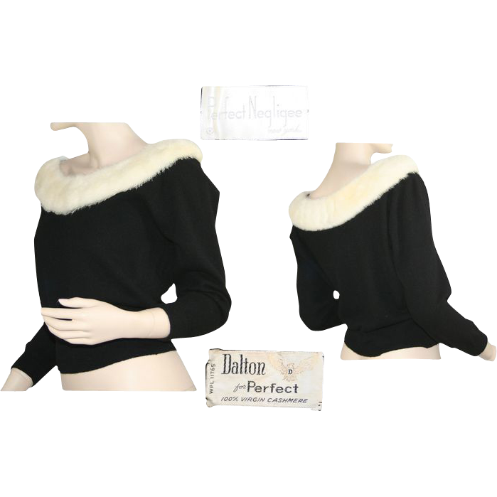 Dalton Black Cashmere Sweater With White Fur Collar 1950's from Breezy Bluewillow on Ruby Lane