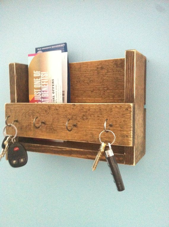 Rustic key holder and mail organizer reclaimed by TheWoodenOwl