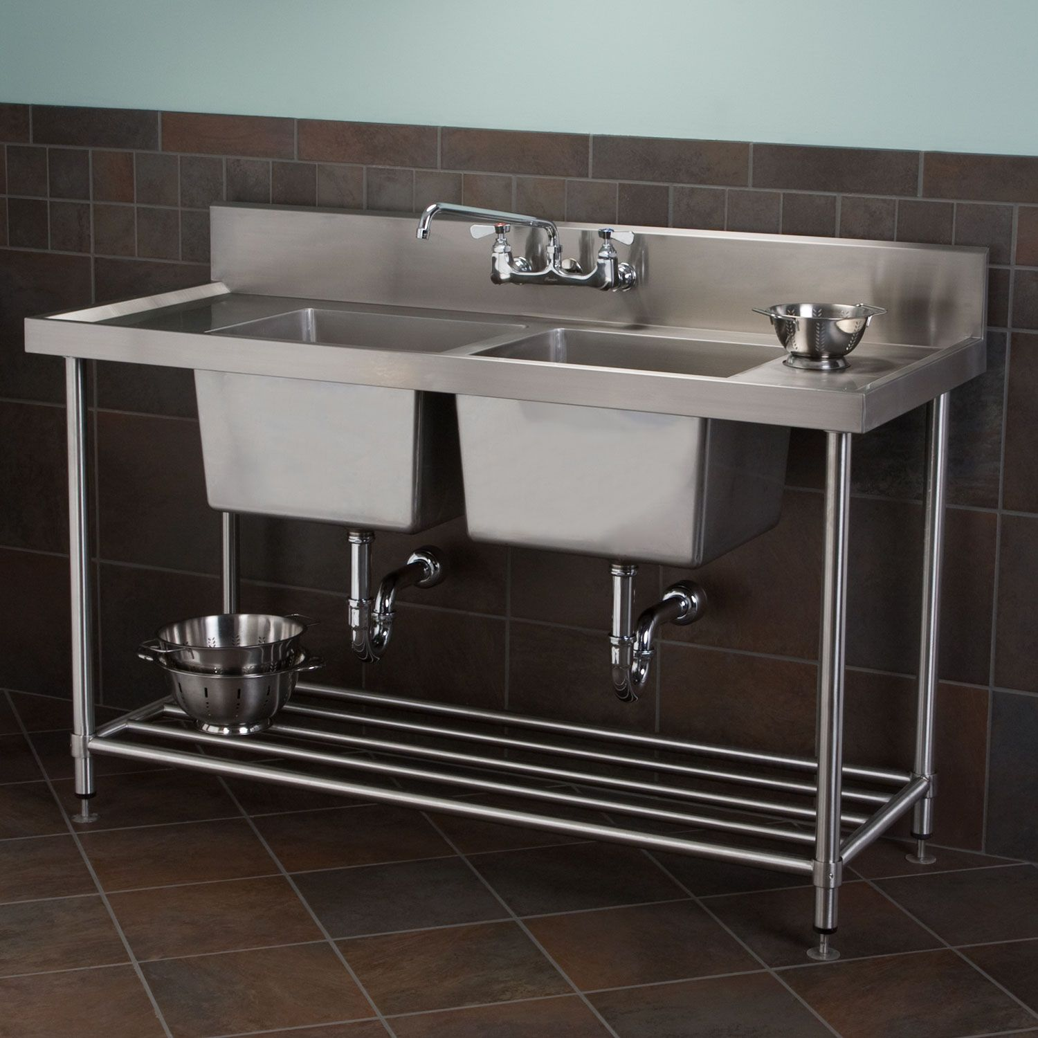Best Stainless Steel Double Well Commercial Console Sink With 400 x 300