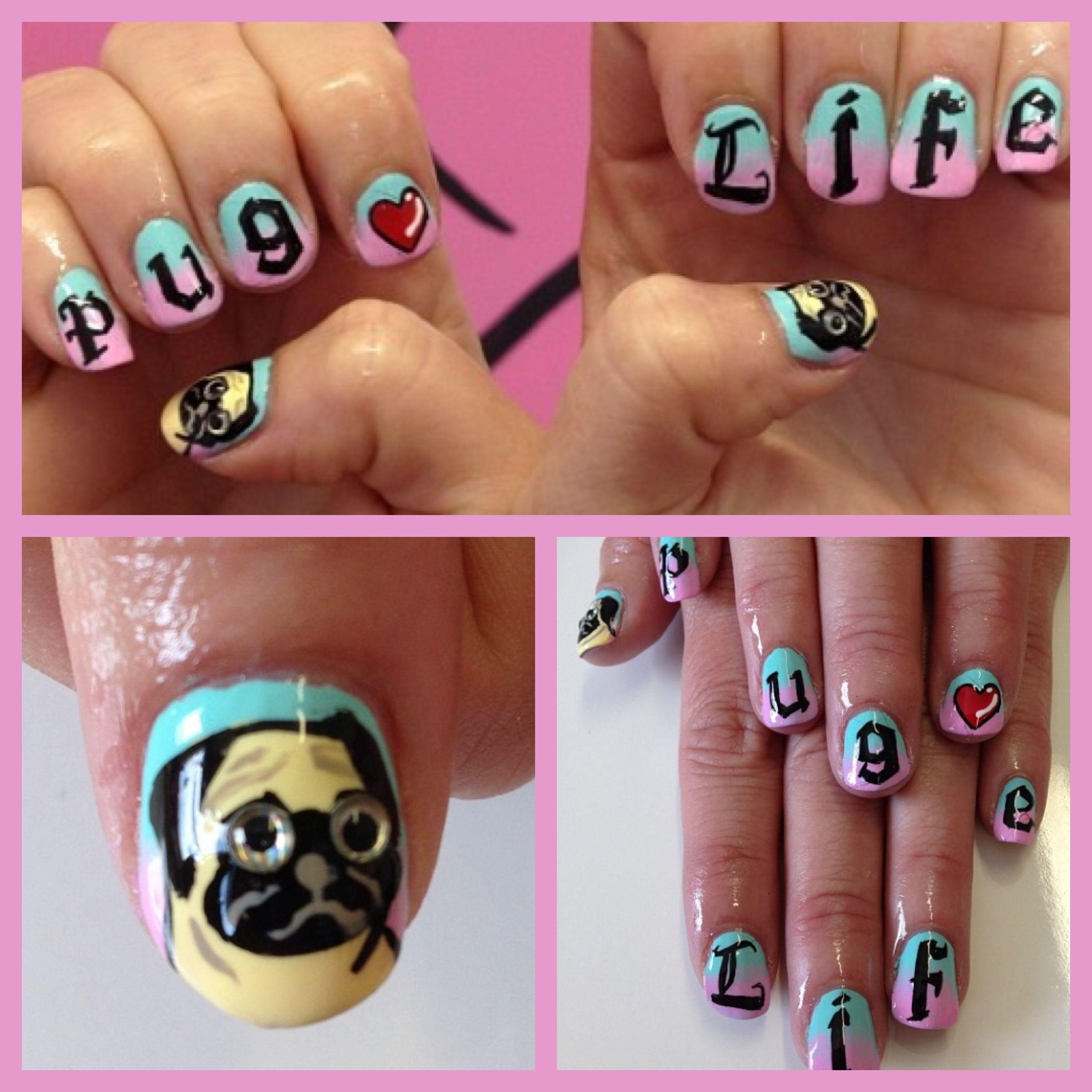 Pug Life nails @I Scream Nails | Nails | Pinterest | Pug life ...