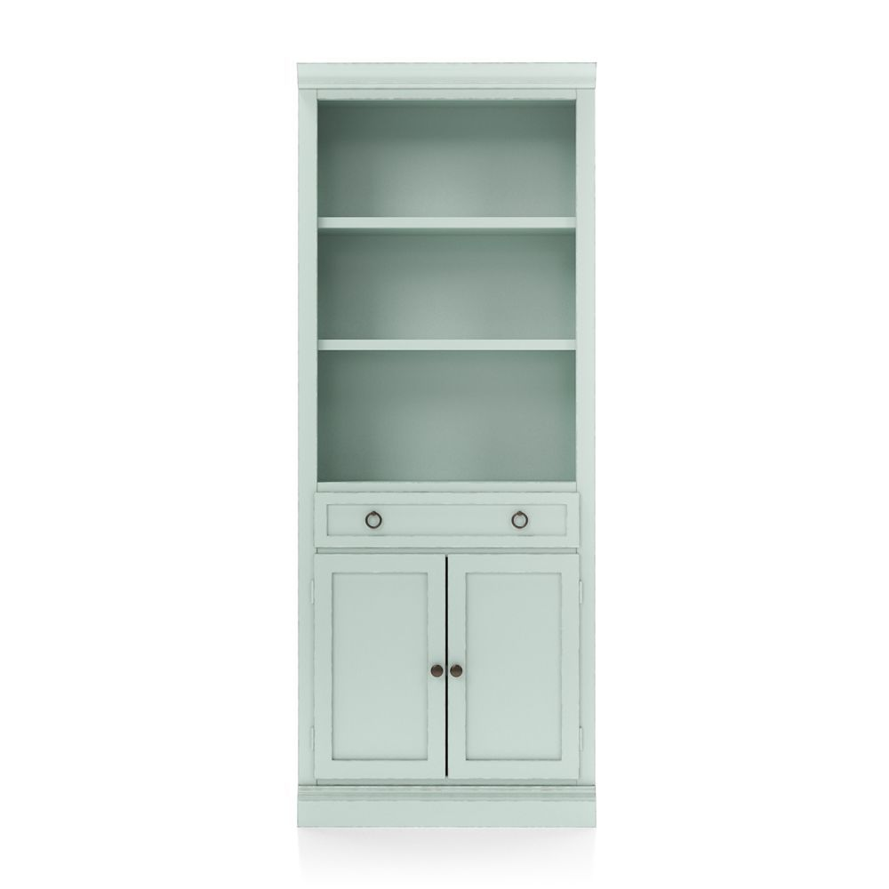 Cameo Blue Grey Storage Bookcase With Middle Crown Bookcase