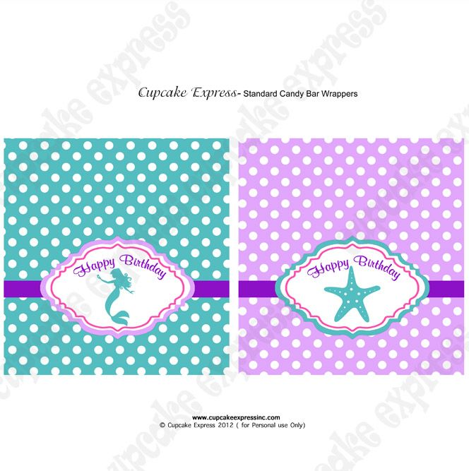 Little Mermaid Candy Bar Wrapper Ariel Candy Bar by CutePixels - candy bar wrapper template