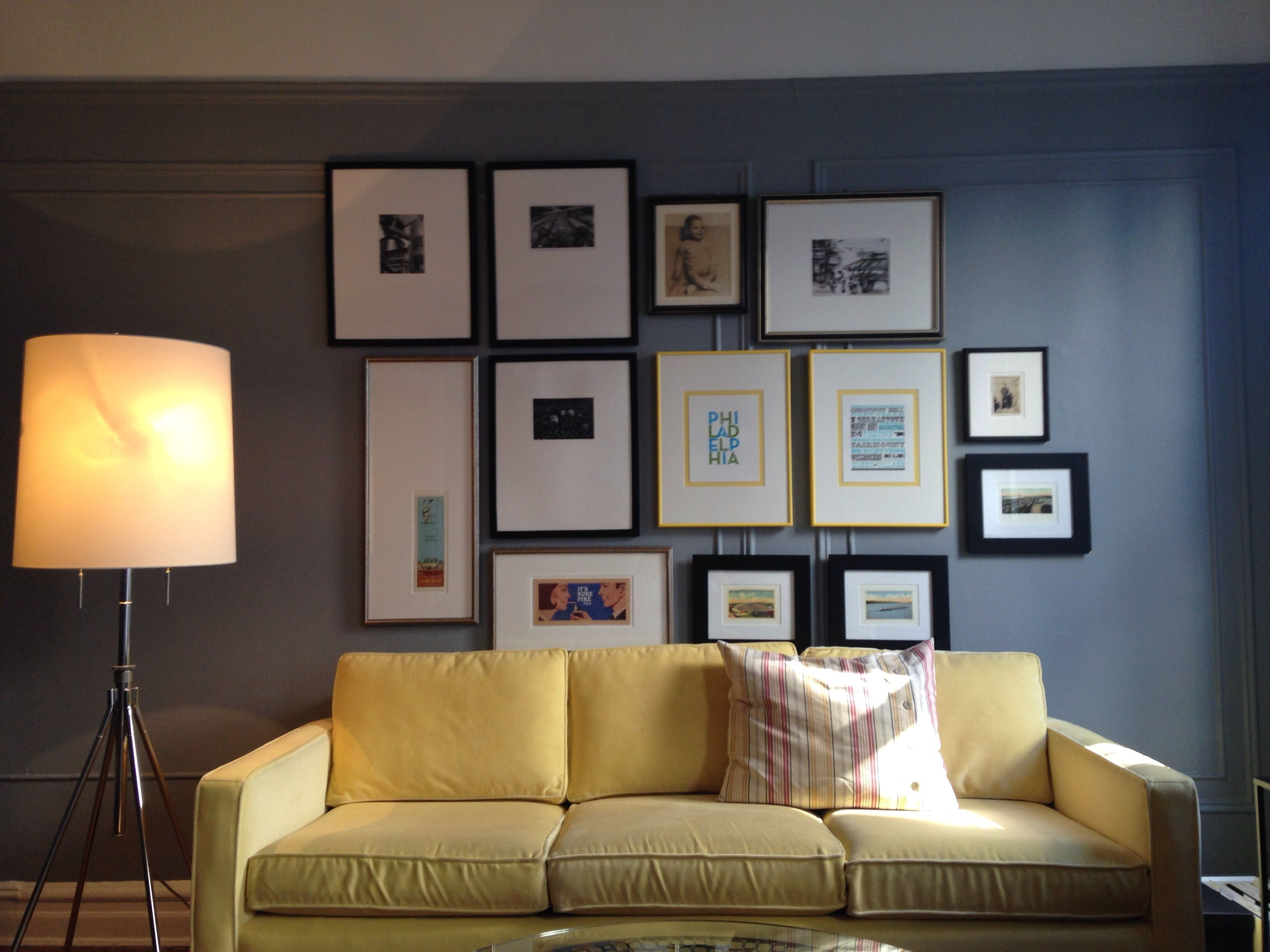 Brooklyn Living Room: Picture Wall, Yellow Couch