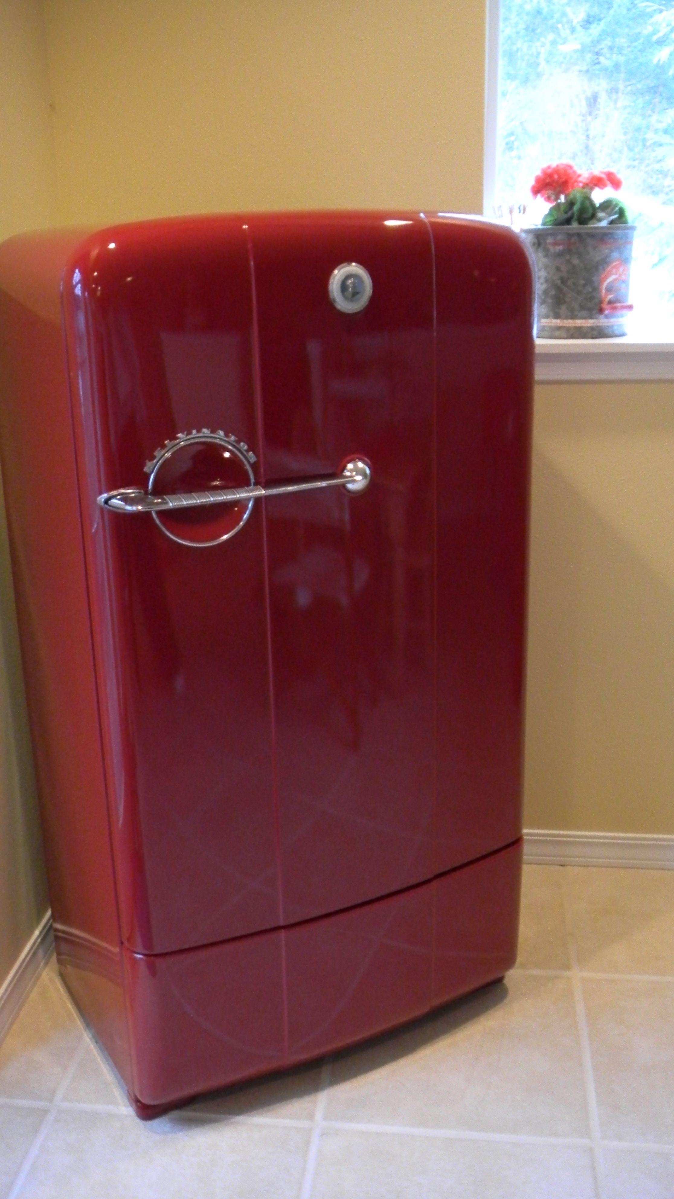 Retro fridge with a new paint job sheus a favorite we bought a
