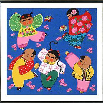 Tianjin Folk Painting - Jian Zi Children