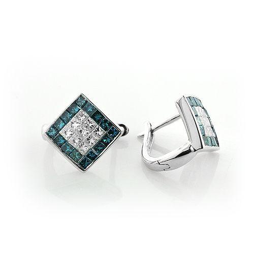 Mens Diamond Earrings White Blue Diamonds 14k 1 07ct