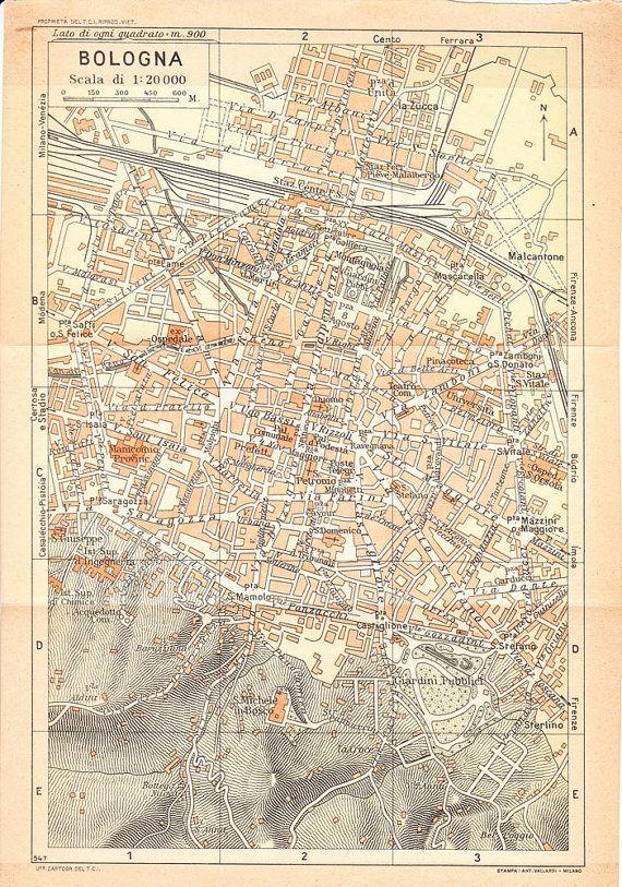 1949 Bologna City Map Italy Street Plan Bologna italy City maps